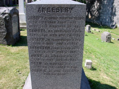 The side of the Hawley Gravestone Features a Family Genealogy Beginning with the First Hawley in America